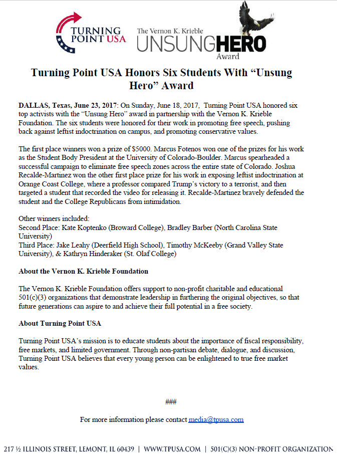 Turning Point USA Honors Six Students with Unsung Hero Award